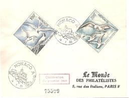 MONACO Lettre 1er Jour 1955 Poste Aérienne Les Oiseaux Sternes Et Mouettes - 027 - Lettres & Documents