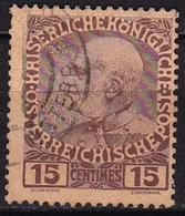 CRETE 1908-14 Austrian Office Glossy Paper 15 Centimes Brown Vl.19 - Kreta