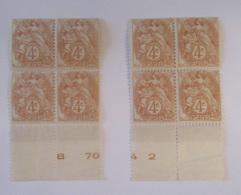 France - 8 Timbres Type Blanc 4c YT N°110 Neufs** Formant 2 Blocs De 4 Avec BDF - Provenant De La Même Feuille (?) - 1900-29 Blanc