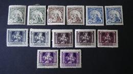 Czechoslovakia - 1919 - Mi:CS 34-9, Sn:CS B124-9, Yt:CS 41,41a,41b,41c,41d,41e**MH/o - VARIETY COLOUR - Look Scan - Ungebraucht