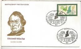 ALEMANIA FDC 1977 EDUARD MORIKE POESIA ESCRITOR - Escritores