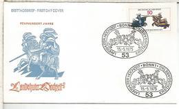 ALEMANIA FDC 1975 CABALLEROS MEDIEVALES CABALLO HORSE KNIGHT - Militares
