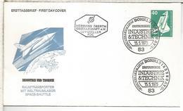 ALEMANIA FDC 1975 INDUSTRIA Y TECNICA SHUTTLE TRANSBORDADOR ESPACIAL - Cartas