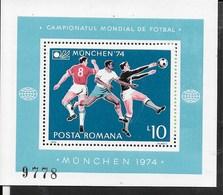 ROMANIA - 1974 - COPPA DEL MONDO CALCIO MONACO '74  - FGL. NUOVO NH ** ( YVERT BF114 - MICHEL BL 114) - Coppa Del Mondo