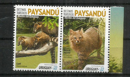 Chat Du Pantanal & Coati à Queue Annelée. Deux Timbres Neufs ** Se-tenant D'URUGUAY 2019 - Felinos