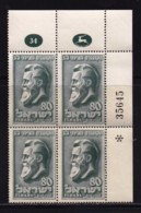 ISRAEL, 1951, Cylinder Blocks Without Tabs Of Mint Stamps, Zionist Congress - Hertzl, SG61, X1012 - Blocks & Sheetlets