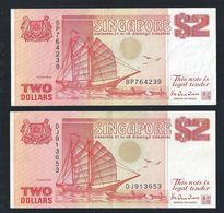 Singapore 1990 $2 X 2 Pcs HTT Orange Ship Series Currency Money Banknote (#138) VG - Singapore