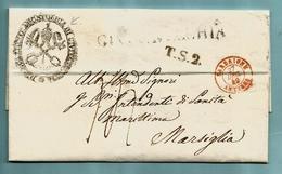 Lettre Avec Contenu + Cachet Province, Griffe CIVITAVECCHIA + SARDAIGNE / ANTIBES 27/12/1849 + Marque T.S.2. Vers ... - Italia
