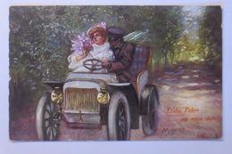 Neujahr, Männer, Frauen, Mode, Auto, Oldtimer   1910, F. Ullrich  ♥  - Nouvel An