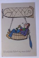 Neujahr, Männer, Zeppelin, Glocke, Kleeblatt   1912, Meissner & Buch ♥  - Neujahr
