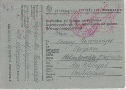 Jugoslawien - Novi Sad 28.11.45 Kriegsgefangenenkarte N. Helmbrechts Lagerzensur - Ganzsachen