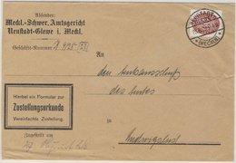 DR-Dienst - 60 Pfg. Strohhut Zustellurkunde Neustadt-Glewe - Ludwigslust 1928 - Officials