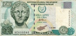 "CYPRUS (GREECE) 10 POUND 1998 F-VF P-62b  ""free Shipping Via Registered Air Mail"" - Zypern"