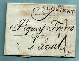Lettre Avec Contenu 10 Fructidor An 9 - 28/08/1801, Griffe 54 LORIENT Vers Laval - Marcophilie (Lettres)