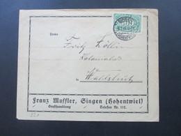 DR Infla 1923 Queroffset Nr. 221 EF  Firmenumschlag Franz Muffler Singen Stempel Direkte Schnellzüge Schwarzwald - Lettres & Documents