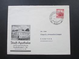 3. Reich 1938 Nr. 667 EF SST Grossröhrsdorf Und Dekorativer Firmenumschlag Der Stadt Apotheke Mit Drogenhandlung - Deutschland
