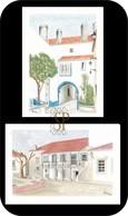 Postal Aguarela Odivelas Portugal Religião Núcleo Urbano Casa Mediterrâneo Tradicional História - Lisboa