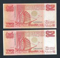 Banknote -Singapore 1990 $2 Orange Ship Series 2 Runs Numbers CH556041-042 (#138A) - Singapore