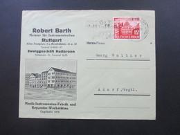 3. Reich 1941 Nr. 766 EF Dekorativer Firmenumschlag Robert Barth Meister Für Instrumentenbau Stuttgart Firmenaufkleber - Deutschland