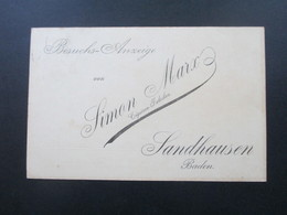 DR 1901 Reichspost Nr. 54 EF Besuchs Anzeige Von Simon Marx Cigaretten Fabriken Sandhausen Amt Heidelberg - Allemagne