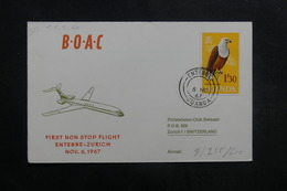 OUGANDA - Enveloppe 1er Vol Entebbe / Zurich En 1967, Affranchissement Plaisant - L 40086 - Ouganda (1962-...)