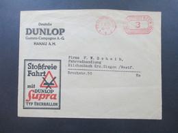3. Reich 1936 Freistempel Firmenumschlag Deutsche Dunlop Gummi Compagnie Stoßfreie Fahrt Mit Dunlop Supra Typ Überballon - Deutschland