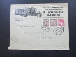 CSSR 1939 Dekorativer Firmenumschlag Möbeltransport / LKW R. Wagner Jaromer Gesendet Ins Sudetenland Reichenberg - Czechoslovakia