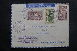 A.O.F. - Enveloppe 1er Vol De Dakar / Pointe Noire En 1943, Affranchissement Plaisant Surchargés - L 40090 - Lettres & Documents