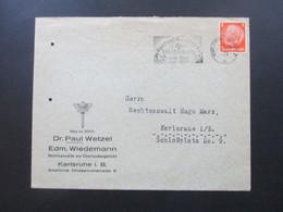 3. Reich 1939 Hindenburg EF Maschinenstempel Karslruhe Austausch Lager D.n.s. Lehrerbundes Vom Fels Zum Meer - Deutschland