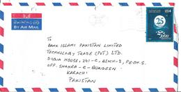 2010,UNITED ARAB EMIRATES,FDC,25th ANNIV.JAFZA /JEBEL ALI FREE ZONE AIRMAIL COVER TO PAKISTAN. - Abu Dhabi