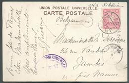 JAPAN 4 Sen Obl. Dc 3.3.24 Sur CP Vers Jambes (6-IV-1914) Via Sibéria + Dc Violet I.J.P.O.1 MUKDEN-CHANGCHUN SOUTH MANDC - Covers & Documents