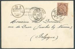 4 Cent  Obl; PEKING Sur CP. 19 May 1904 To Belgium (Jambes 29 June) + Dc Français SHANG-HAI CHINE (26 May)  + Cachet Chi - Cartas