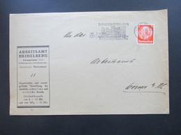 3. Reich 1936 Arbeitsamt Heidelberg Hindenburg EF Maschinenstempel Reichsfestspiele Heidelberg An Das Arbeitsamt Worms - Deutschland