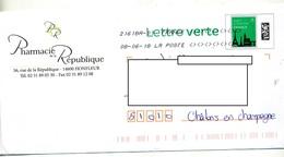 Pap Monument Paris  Flamme Chiffree Sous Code Symbole Inegalite Entete Pharmacie Republique Honfleur - Postwaardestukken