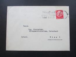 3. Reich 1934 Hindenburg EF Ludwigshafen An Herrn Ing. Kretschek Kriegsministerium, Patentamt Wien I Österreich - Deutschland