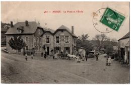 CPA 58 - MOUX (Nièvre) - 483. La Poste Et L'Ecole (animée, Attelage) - Other Municipalities