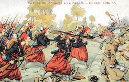 CHARGE DES ZOUAVES A LA BASSE GUERRE 1914 ILLUSTREE PAR MULLER  REF 60751 - Guerra 1914-18