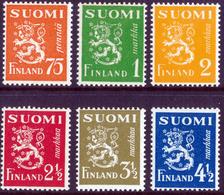 FINLAND 1942 Definitive Lions, MI 261-266**MNH - Nuovi