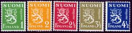 FINLAND 1942 Definitive Lions, MI 262-266**MNH DEXTRINE INVISIBLE GUM - Nuovi