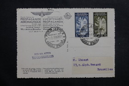 TRIPOLITAINE - Carte Postale Par Vol Tripoli / Bruxelles En 1938, Propagande Aérienne , à Voir - L 40120 - Tripolitaine