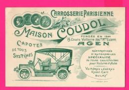(Ref: Z2272) CARTE PUBLICITAIRE DE REPRÉSENTANT AGEN (47 LOT & GARONNE) CARROSSERIE PARISIENNE MAISON COUDOL  V. Voiture - Agen