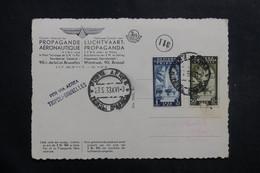 TRIPOLITAINE - Carte Postale Par Vol Tripoli / Bruxelles En 1938, Propagande Aérienne , à Voir - L 40122 - Tripolitaine