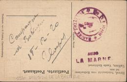 Marine Aviso La Marne Cachet Marine Française Service à La Mer FM 18 12 20 CP Mer Tallinn Estonie Expédition Baltique - Postmark Collection (Covers)