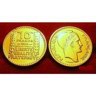 MONNAIE FRANCE 10 FRANCS TURIN 1948 OR PL RARE EDITION LIMITEE PRIX DEPART 1 EURO - Gold