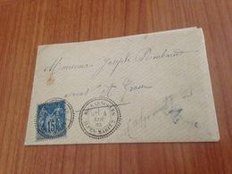 ESCRAGNOLLES  ( Alpes Maritimes -06 ) Lettre Ecrite 1883- Cachet Perlé Type 22- Timbre 15c Type Sage - - Marcofilia (sobres)