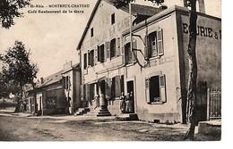 HAUT RHIN MONTREUX -CHÂTEAU -CAFÉ  RESTAURANT  DE LA GARE CIRCULÉE AVRIL 1910 - France