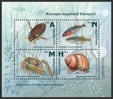Belarus 2019 - Inhabitants Of Water Basins, S/s MNH. Crayfish, Snail, Beetle. Biélorussie / Weissrussland - Belarus