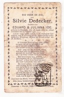 DP Silvie DeDecker / Ide ° Beernem 1874 † 1901 / G. Gezelle - Images Religieuses