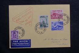 BELGIQUE - Carte Postale De Bruxelles Pour Léopolville Par 1er Vol Alger /Brazzaville En 1938 - L 40128 - Cartas