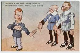 CARTOLINA MILITARE PRIMA GUERRA GUGLIELMO II DI GERMANIA CECCO PEPPE SAVOIA REALI HUMOR UMORISTICA ILLUSTRATORE GOLIA - Humor
